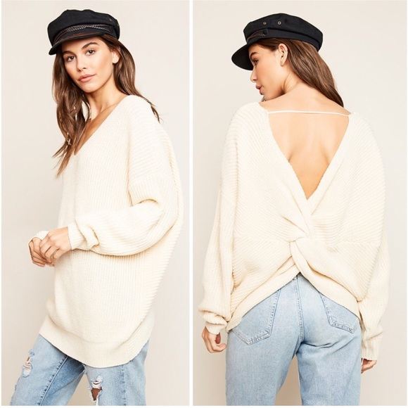 Sweaters - Ivory Twist Cross Back Oversized V Neck Sweater